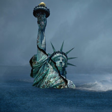 the Statue of Liberty sinking into water