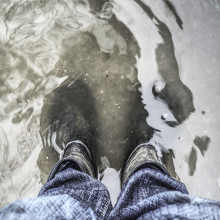 Wellington boots in water