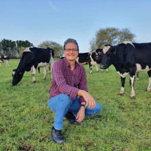 Lindsay Matthews with cows