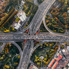 A birds eye view of a busy highway
