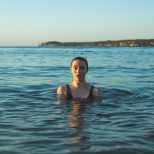 Lady swimming in the sea