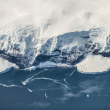 The coast of Antarctica from a bird's-eye view.