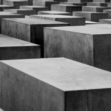 A grayscale photo of the Holocaust Memorial in Berlin