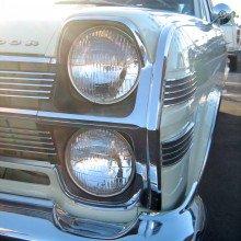 1966 Ambassador 990 station wagon by American Motors Corporation (AMC). Detail of headlight design.
