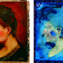 The oil painting on the left fluoresces when exposed to ultraviolet light (right), but evidence of signature forgery remained unseen until a new non-invasive imaging technique was used.
