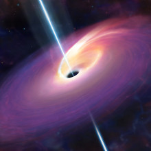 What University of Warwick researchers think the aftermath of a large star being consumed by a black hole at the center of a galaxy 3.8 billion light years distant may have looked like. The event blasted jets of energy from the black hole, one of...