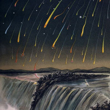 Leonid Meteor Strom, as seen over North America in the night of November 12./13., 1833.