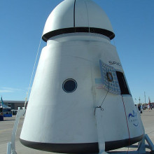 A SpaceX Dragon capsule structural test article on display at the 2007 X-Prize Cup at Holloman Air Force Base, New Mexico