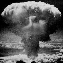 A mushroom cloud from an explosion.