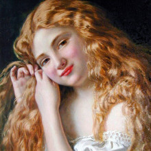 Young Girl Fixing Her Hair, by Sophie Anderson