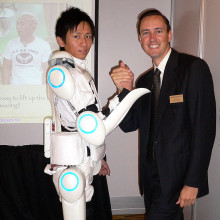 An electrically powered exoskeleton suit currently in development by Tsukuba University of Japan.