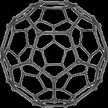 A 3D model of a C60 molecule, also called a \Buckyball\.
