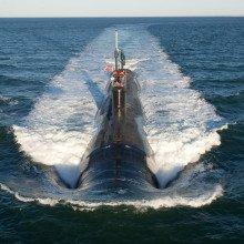 Virginia-class attack submarine in the Atlantic Ocean.