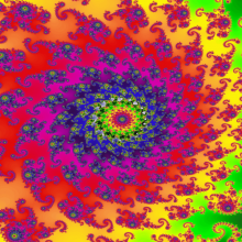 A fractal \Julia set\ image, often used to represent hallucination. a=-0.8 b=-0.158