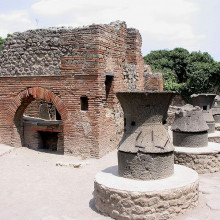 Remains of a bakery in Pompeii