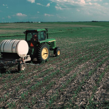 Nitrogen fertilizer applied to crops