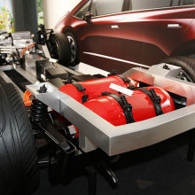Honda FCX prototype; the V Flow F.C. Platform and the hydrogen tanks.