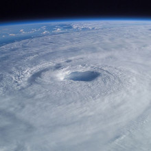 From his vantage point high above the earth in the International Space Station, Astronaut Ed Lu captured this broad view of Hurricane Isabel.