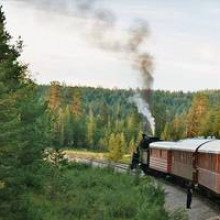 Steam train of Inlandsbanan stops.