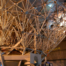 The submillimeter James Clerk Maxwell Telescope (JCMT) primary mirror seen from behind, showing the panels it is made of.