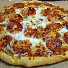 A homemade pepperoni pizza.