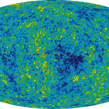 The Cosmic Microwave Background temperature fluctuations from the 5-year Wilkinson Microwave Anisotropy Probe data seen over the full sky. The average temperature is 2.725 Kelvin (degrees above absolute zero; absolute zero is equivalent to -273.15 C...