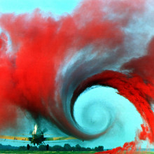 The air flow from the wing of this agricultural plane is made visible by a technique that uses colored smoke rising from the ground. The swirl at the wingtip traces the aircraft's wake vortex, which exerts a powerful influence on the flow field...