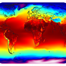 A global map of the annually-averaged near-surface air temperature from 1961-1990.