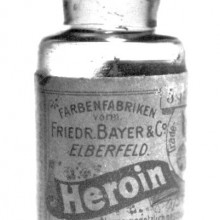 A pre-war bottle of Heroin, originally containing 5 grams of Heroin substance