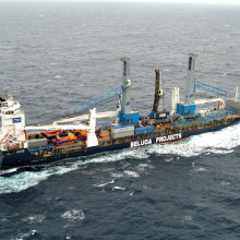 Multipurpose heavy-lift project carrier MV Beluga Indication transports Gottwald harbour cranes on the ocean