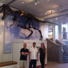 Roy, Phil and Graihagh under Gorgosaurus dinosaur
