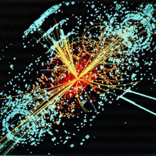 A simulated event at of the LHC of the european particle physics institute, the CERN. This simulation depicting the decay of a Higgs particle following a collision of two protons in the CMS experiment.