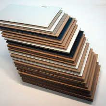 Large selection of different corrugated paper (Cardboard) with dfferent flutes.