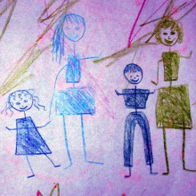A child's drawing of a family