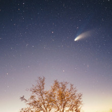 Comet Hale-Bopp as it flies over the sky of Pazin in Istria, Croatia