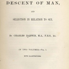 Cover page of Charles Darwin's Descent of Man (1871).
