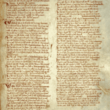 Page from the Domesday Book for Warwickshire, including listing of Birmingham