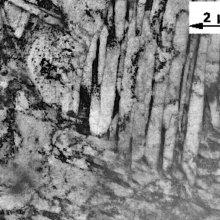 Bainitic zone in welding of DQSK (draw quality semi-killed) steel (mild steel). Transmission electron microscopy (TEM) image.