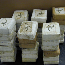 Image of cocaine drug packs confiscated by the US Federal Agency DEA.