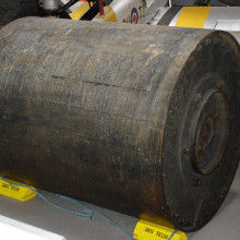 A real bouncing bomb at Duxford Imperial War Museum. Photographed by Martin Richards Feb 2005.