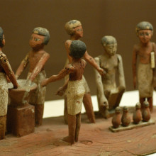 Egyptian wooden model of beer making in ancient Egypt; located at the Rosecrucian Egyptian Museum in San Jose, California.