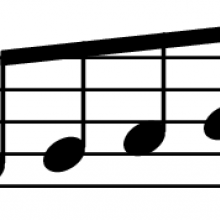 Four eighth notes beamed together on a staff.