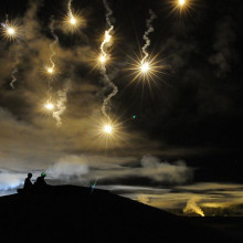 Flares on a military training exercise