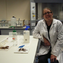 Sarah Hall in her lab where she tests Hair samples