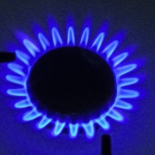 The flame from a gas hob