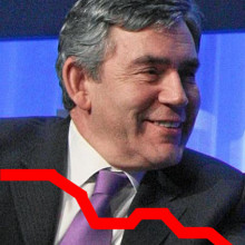 DAVOS/SWITZERLAND, 25JAN08 - Gordon Brown, Prime Minister of the United Kingdom and H.M. Queen Rania Al Abdullah of the Hashemite Kingdom of Jordan, Member of the Foundation Board of the World Economic Forum, talk to each other during the session...