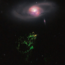 Hanny's Voorwerp and IC 2497 taken by Wide Field Camera 3 of the Hubble Space Telescope.