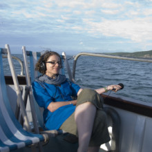 Helen Scales recording at sea