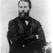 Herman Melville, American author. Reproduction of photograph, frontispiece to Journal Up the Straits.