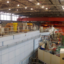 The experimental hall at the ISIS neutron source at the Rutherford Appleton Laboratory in Oxfordshire, UK.